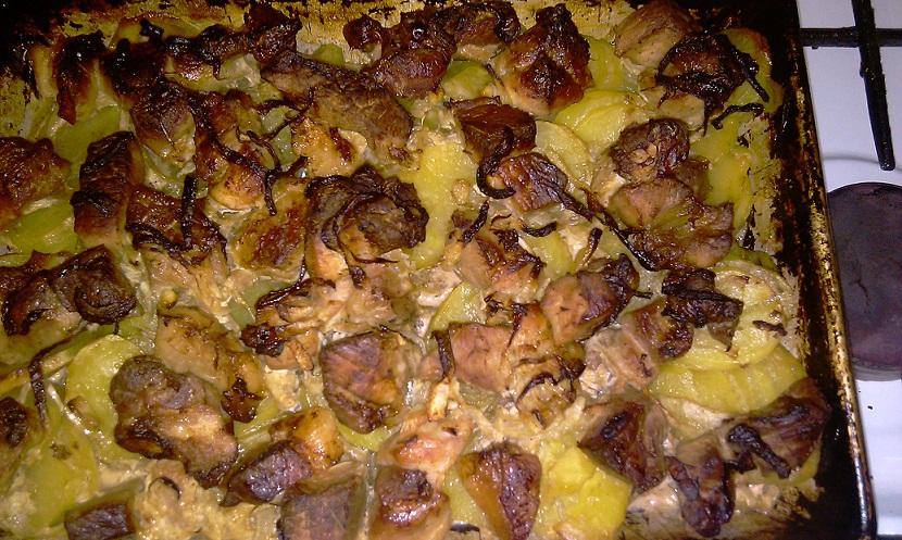 Картошка с мясом и грибами в духовке пошаговый рецепт