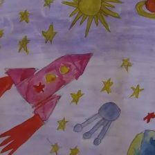 Алина Белова в конкурсе «Помоги космонавтам добраться до Марса! Нарисуй космический шатл»