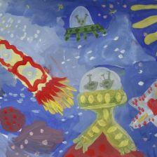 Глеб Шишкин в конкурсе «Помоги космонавтам добраться до Марса! Нарисуй космический шатл»