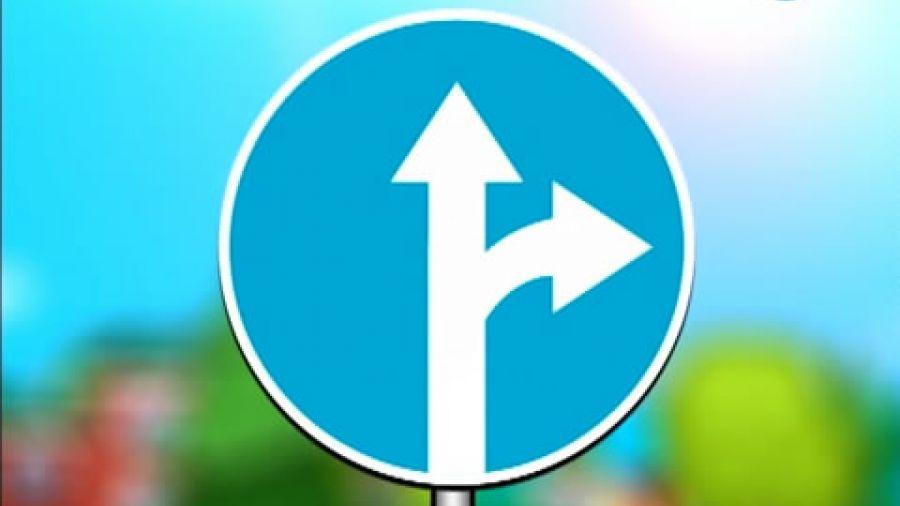 Знак «Движение прямо или направо»