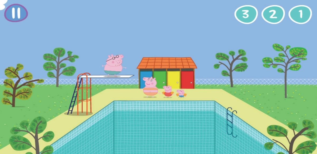Детская онлайн игра Свинка Пеппа. Прыжки в бассейн играть ...