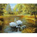 """Живопись на холсте """"Лебеди в пруду"""", 40 х 50 см"""