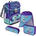 Hama Ранец школьный Light2 Happy Dolphins с наполнением 3 предмета
