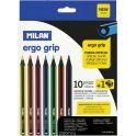 Milan Карандаши пластиковые Ergo Grip 10 цветов с точилкой