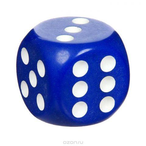 Кость игральная, цвет: синий, размер: 3,6 см