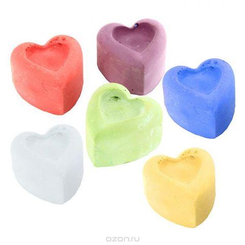 """Мелки цветные """"Сердечки"""", фигурные, 6 цветов"""