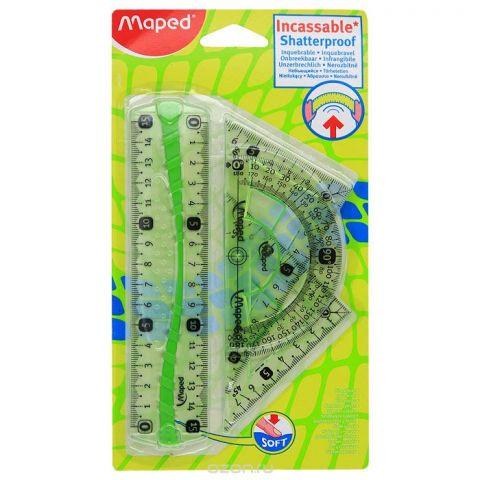 "Геометрический набор ""Maped"", цвет: зеленый, 4 предмета"