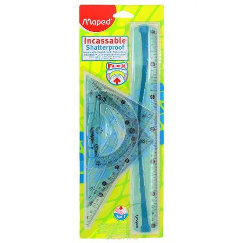 """Геометрический набор """"Maped"""", цвет: голубой, 4 предмета. 2443045"""