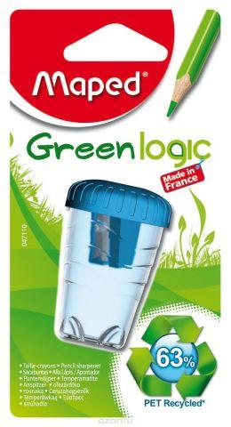 """Точилка пластиковая Maped """"Green Logic"""", с контейнером, цвет: голубой"""