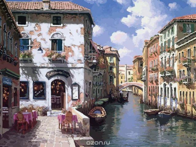 "Живопись на холсте ""Венецианские дома"", 40 х 50 см"