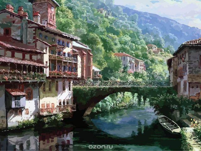 """Живопись на холсте """"Древний мост через Нив"""", 40 х 50 см"""