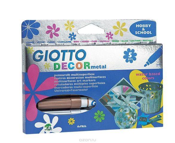 """Фломастеры Giotto """"Decor Metal"""", для декорирования, 5 цветов"""