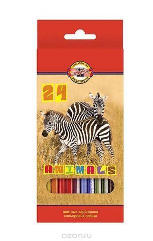 """Цветные карандаши """"Животные"""", 24 цвета"""