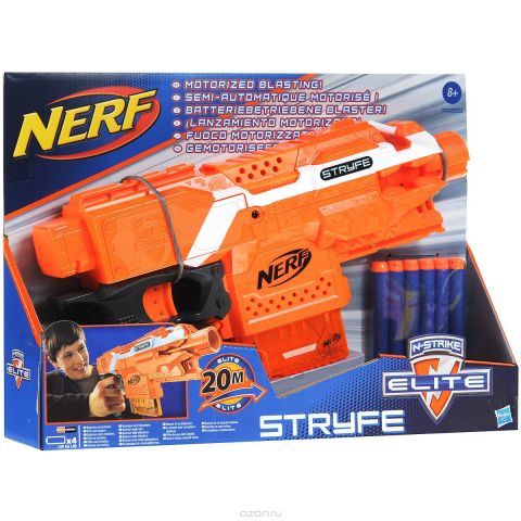 "Бластер Nerf ""Stryfe"", цвет: оранжевый, с патронами"