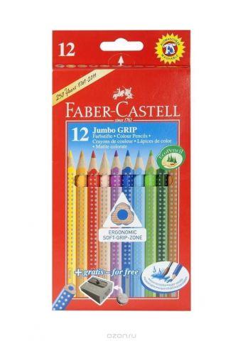 Цветные карандаши JUMBO GRIP с точилкой, набор цветов,  в картонной коробке, 12 шт.