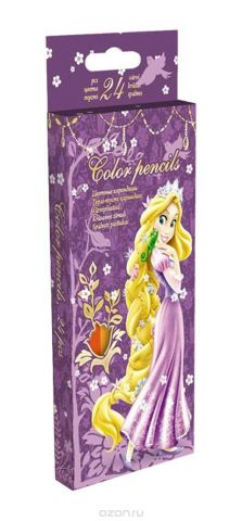 Карандаши, 24 цв. Коробка раздвижная, европодвес Princess
