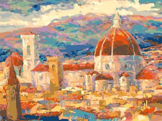"""Живопись на холсте """"Дождь над Флоренцией"""", 30 х 40 см"""