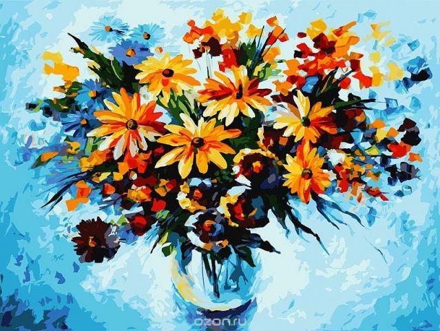 "Живопись на холсте ""Разноцветные ромашки"", 30 х 40 см. 012-AS"