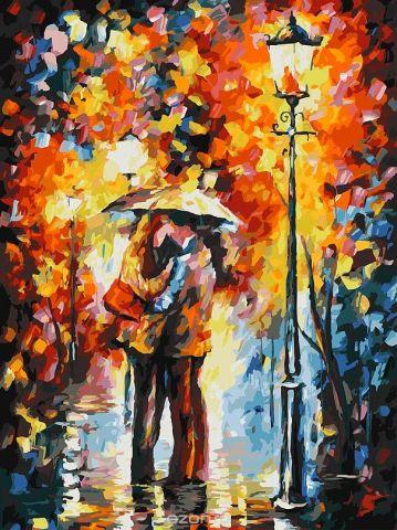 """Живопись на холсте """"Поцелуй под дождем"""", 30 х 40 см"""