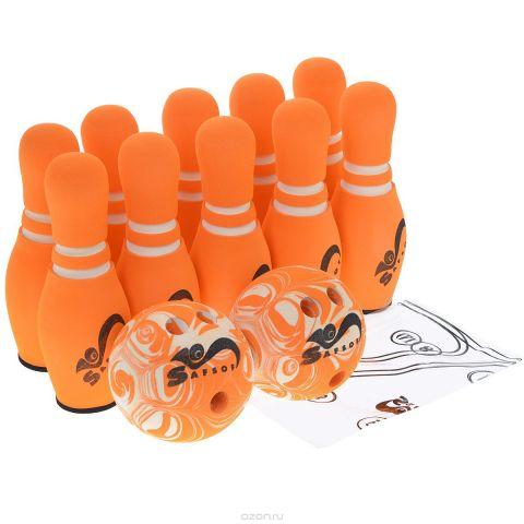 """Игровой набор Safsof """"Боулинг"""", цвет: белый, оранжевый, диаметр шара 14 см"""