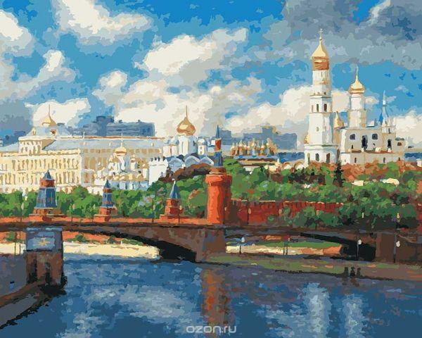 "Живопись на холсте ""Московский кремль"", 40 х 50 см"
