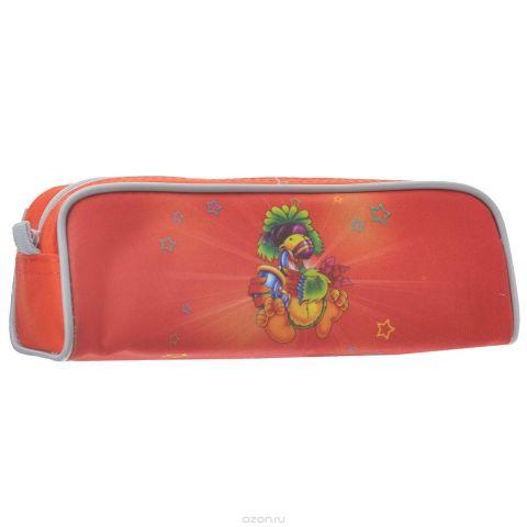 Пенал на молнии JOYFUL BIRDIE, без наполнения, 1 отделение, цвет: красный