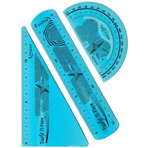"""Геометрический набор Maped """"Twist'n Flex"""", цвет: голубой, 3 предмета"""