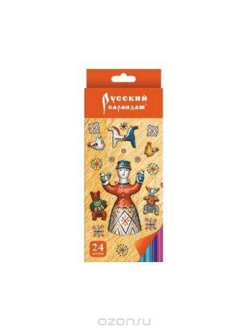 """Карандаши 24 цвета """"Русский карандаш. Фольклор"""" (длина 175 мм) шестигранные в картонной двухрядной коробке с европодвесом, ok 6.4 мм"""