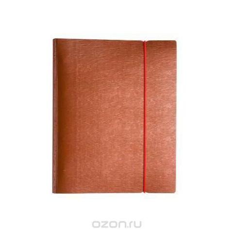 Тетрадь 120л А5ф на 4 х кольцах Пластиковая обложка на резинке WOOD Красная