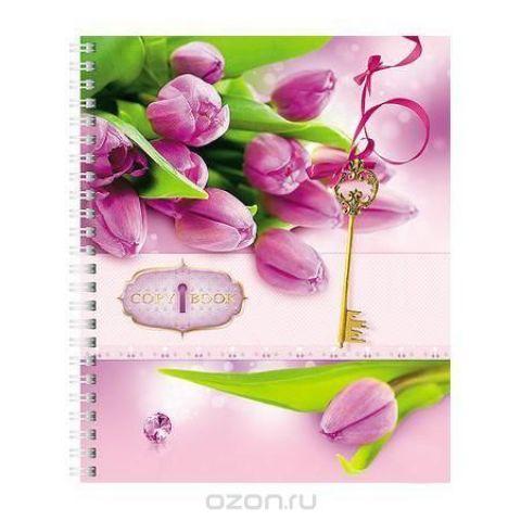 Тетрадь с твердой обложкой 96л А5ф клетка на гребне Flowers