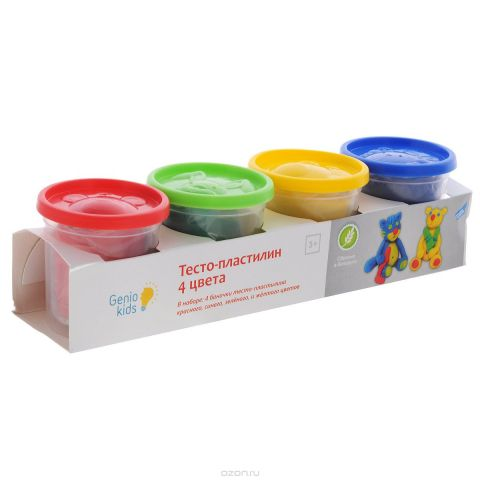 """Тесто-пластилин """"Genio Kids"""", 4 цвета"""