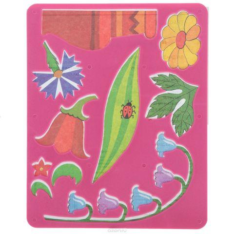 Луч Трафарет прорезной Цветы луговые цвет основы розовый