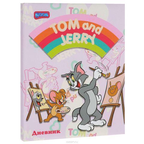 """Дневник школьный Boom """"Том и Джерри 2"""", цвет: розовый, белый. 244"""