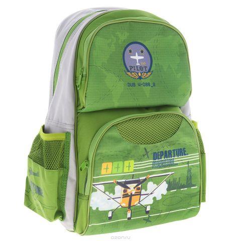 """Рюкзак школьный Tiger Family """"My Collection"""", цвет: зеленый, серый"""