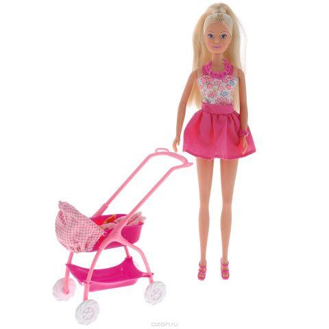 Simba Кукла Штеффи с ребенком цвет розовый белый