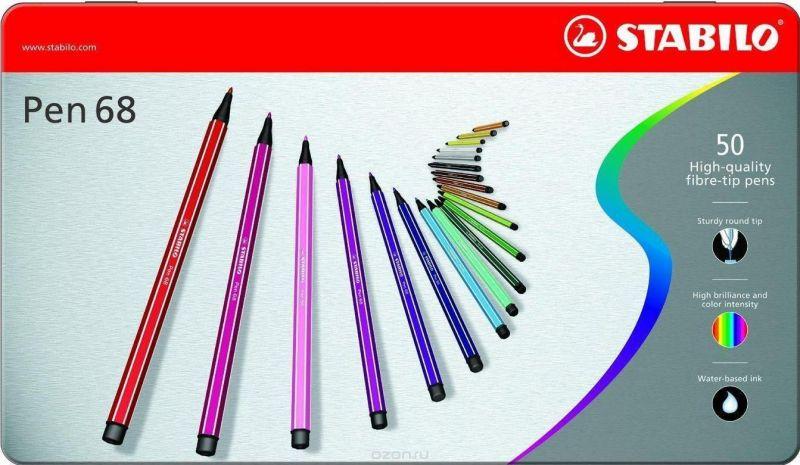 STABILO Набор профессиональных фломастеров PEN 68 50 цветов