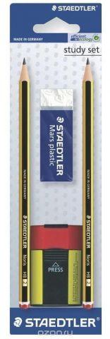 Карандаши чернографитные Noris HB 2 шт + ластик 52650 + точилка 511004, блист.упак. Staedtler