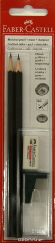 Faber-Castell Карандаш чернографитовый 1111 HB с ластиком и точилкой