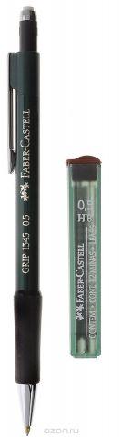 Faber-Castell Механический карандаш Grip с ластиком и запасными грифелями цвет корпуса зеленый