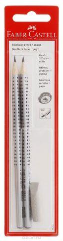 Faber-Castell Чернографитовый карандаш Grip 2001 2 шт твердость HB/B + ластик-колпачок в блистере