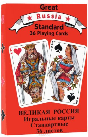 """Карты игральные Piatnik """"Русский стандарт"""", цвет: красный, 36 карт"""