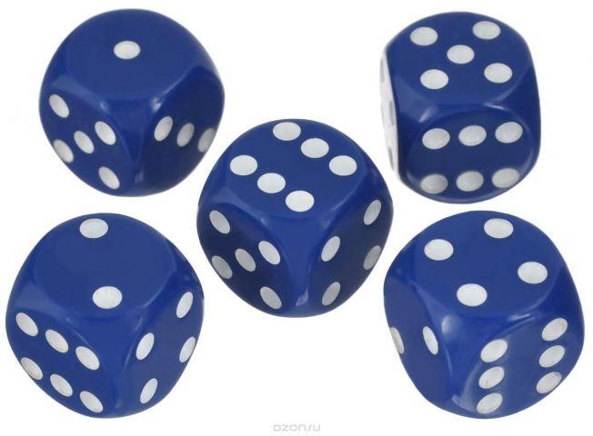 Набор игральных костей Компания Игра, 20 мм, цвет: синий, 5 шт