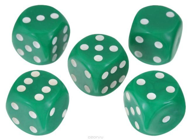 Набор игральных костей Компания Игра, 20 мм, цвет: зеленый, 5 шт