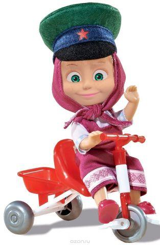 Simba Мини-кукла Маша в фуражке и на велосипеде