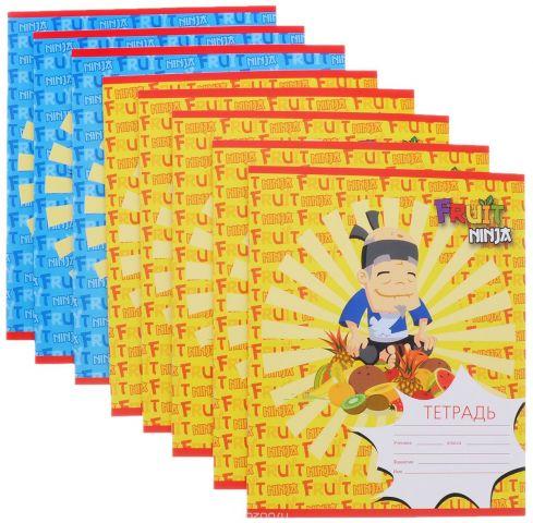 Action! Набор тетрадей Fruit Ninja 24 листа в клетку цвет желтый синий 8 шт