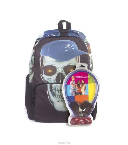 """Рюкзак молодежный 3D Bags """"Роджер-Бейсболка"""", цвет: черный, голубой, 27 л + ПОДАРОК: Наушники"""