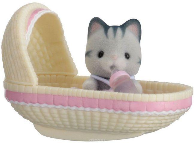 Sylvanian Families Фигурка Малыш котенок в люльке