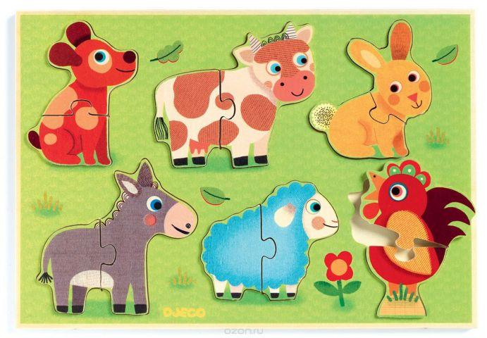 Djeco Пазл для малышей Животные на лугу