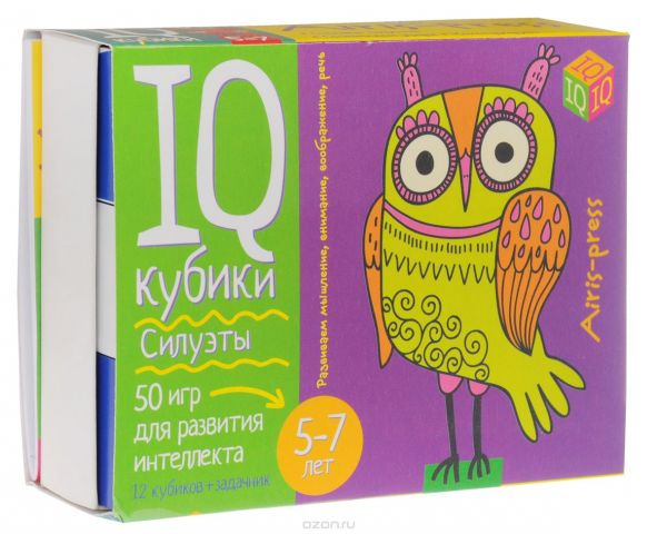 Айрис-пресс Обучающая игра IQ Кубики Силуэты 50 игр для развития интеллекта