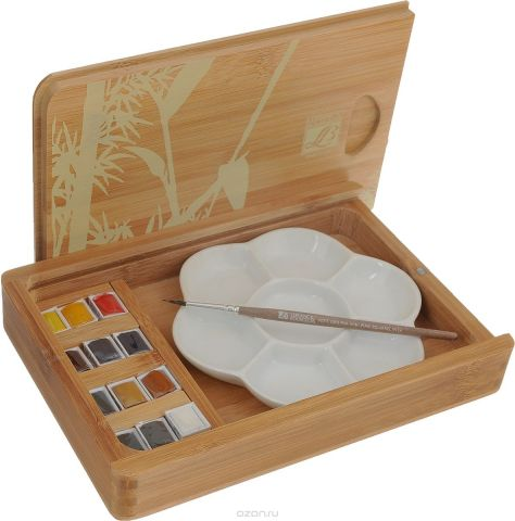 """Набор акварельных красок Lefranc & Bourgeois """"Fine"""", в бамбуковом кейсе, 15 предметов"""